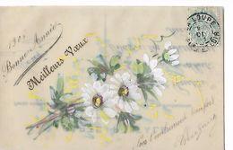 """Carte  Celluloid   -  """"  Bonne  Année  -  Meilleurs  Voeux """" Fleurs  Blanches - Postcards"""