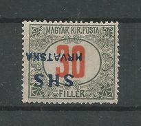 Yugoslavia Kingdom SHS Jugoslawien - Mi.Porto 33K With INVERTED Overprint + Shifted - Mint / MH / * 1918 - Portomarken