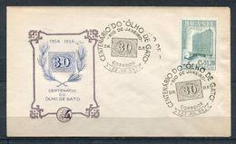 1954 BRESIL  FDC 1ER JOUR EXPOSITION PHILATELIQUE CENTENAIRE DU TIMBRE OEIL DU CHAT - Philatelic Exhibitions