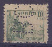 ESPAÑA/SPAIN:1938:PERFIN:Y.579 Gestempeld Met Perforatie/oblitéré Avec Perforation/cancelled With Perforation ## B.C. ## - 1931-Aujourd'hui: II. République - ....Juan Carlos I