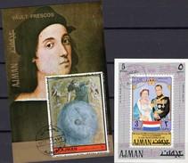 Königin Julianet/NL 1971 Adschman Blocks 316+407 O 8€ Erde Von Maler Raffael Ss Art Blocs Ms Painting Sheets Bf VAE - Non Classés