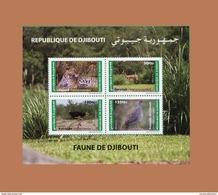 DJIBOUTI FAUNA FAUNE DE FELINS LEOPARD AUTRUCHE GERENUK GAZELLE FRANCOLIN BIRDS BLOC S/S 166 Mi 815-818 MNH 2012 ** RARE - Straussen- Und Laufvögel