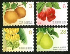 2017 Taiwan Fruit Stamps (IV)  Pear, Rose Apple, Bell Fruit, Banana, Pomelo, Post - Agriculture