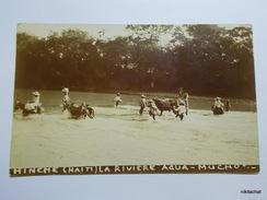 """Hinche-La Rivière """"Agua Mucho""""-Carte Photo 1920 - Haïti"""