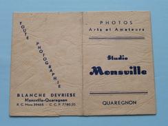 Kaftje / Pochette : Studio MONSVILLE Quaregnon - Blanche Devriese ( Form. +/- 7 X 10 Cm. ) ! - Matériel & Accessoires