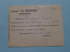 """"""" LA CRAVACHE """" Journal Anno 1945 - Mr. Duplaquet QUAREGNON Déclare Souscrire Un Abonnement De 36 Francs ( Note ) ! - Journaux - Quotidiens"""
