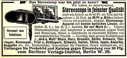 Original-Werbung/ Anzeige 1905 - STEREOSCOPE / BERLINER VERLAGS-INSTITUT - Ca. 80 X 40 Mm - Advertising