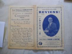 REVIENS VALSE CREEE PAR FRAGSON PAROLES ET MUSIQUE DE FRAGSON & CHRISTINE 1910 - Partitions Musicales Anciennes