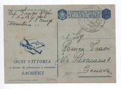 1942 - OCCUPATION ITALIENNE En FRANCE - RARE CARTE MILITAIRE De MENTONE (MENTON) Avec TàD XV° BTC MITRAGLIERI DI C.A - Occupation 2ème Guerre Mond. (Italie)