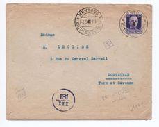 1943 - OCCUPATION ITALIENNE En FRANCE - RARE ENVELOPPE De MENTONE (MENTON) Avec CENSURE & N° CARTE D'IDENTITE DE L'EXP. - Occupation 2ème Guerre Mond. (Italie)