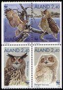 WWF Aland 1996 Eagle Owl Uhu Aigle Birds Prey Greivögel Roofvogel 4v MNH - W.W.F.