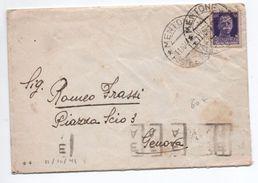 1941 - OCCUPATION ITALIENNE En FRANCE RARE ENVELOPPE De MENTONE (MENTON) Pour GENOVA Avec TàD MENTONE POSTE E TELEGRAFI - Occupation 2ème Guerre Mond. (Italie)
