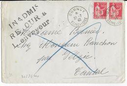 1940 - INADMIS RETOUR à L'ENVOYEUR - PAIX Sur ENVELOPPE De BRUNOY => VELZIC (CANTAL) - Marcophilie (Lettres)