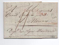 1898 - RARE LETTRE De VALENZA ACHEMINEE à PERPIGNAN Pour MONACO - Postmark Collection (Covers)