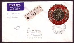 Bhutan Registered Cover To Germany Usage  + Gold Gilt Coin Stamp - Unusual And Scarce - Bhutan