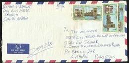 Saudi Arabia Registered  Air Mail Postal Used Cover K.A.A.A Jeddah To Pakistan  Red Postmark - Saudi Arabia