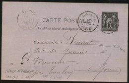 YONNE: Carte Entier Avec 10c Type SAGE Type 2 Oblt CàDate Type 18 TONNERRE - Postmark Collection (Covers)