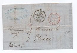 1857 - LETTRE COMMERCIALE De LYON Pour NICE Avec CACHET ROUGE SARDAIGNE ANTIBES A.M. D - Postmark Collection (Covers)