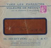 ENVELOPPE PUBLICITAIRE TUEZ LES PARASITES  M. HERTZOG  A JONZAC   LETTRE CIRCULEE - Postmark Collection (Covers)