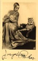 Josephine Baker, Original Autrogramm Postkarte Mit Gepard - Rarität ! - - Musique Et Musiciens