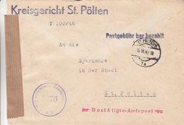 Autriche - Lettre De 1946 Ou 1948 - Oblit St Polten - Exp Vers St Polten - Avec Censure - 1945-60 Brieven