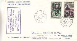 France - Lettre De 1962 - Oblit Paris - 1er Vol Caravelle Paris Francfort - - France