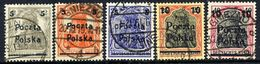 POLAND 1919 First Poznan Provisional Issue Used.  Michel 130-34 - 1919-1939 Republic