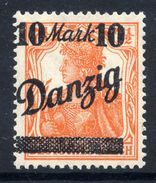 DANZIG 1920 10 Mk On 7½ Pf. Surcharge Without Burelage Overprint LHM / *.  Michel 46 III - Danzig