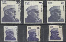 Nehru Definitives Complete Set Of Six HCV Includes Varieties Of 25p India Indian Indien Inde Definitive - India