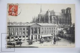 Old Postcard France - Reims - La Place Royale Et La Cathedrale - Posted 1910 - Reims