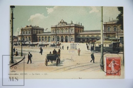 Old Postcard France - Reims - La Gare - Animated - Posted 1910 - Reims