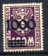 DANZIG 1923 Postage Due Unissued Surcharge 1000 On 10 Mk. MH / *.  Michel Porto I/I  Tworek Certificate. - Danzig