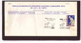 1063   -   FANO  1.9.1974   /    CAMP. EUROPEO KARTING A SQUADRE - Francobolli