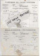 52 - Haute-marne - CHALINDREY - Facture DENISET - Boulangerie-pâtisserie - Pains D'épices - 1912 - REF 75D - France