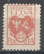 Central Lithuania 1920. Scott #1 (M) Coat Of Arms * - Lituanie