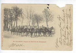 CPA Animée Régiment De Cavalerie Saumur Départ Au Service En Campagne Hérault Photographe Suter Bâle - Saumur