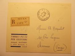 Marcophilie  Cachet Lettre Obliteration Timbre - Chargements Nice RP - Recommandé 1963 (1165) - Marcophilie (Lettres)