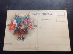 CARTE POSTALE Franchise Militaire 1939-1945 Soldat Français, Pensée & Drapeaux Alliés - Marcophilie (Lettres)