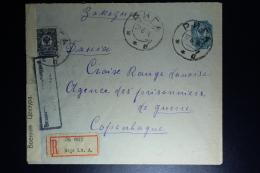 Russia Cover Riga Registered 1916 To Copenhagen Red Cross Cencor Cancel + Strip - 1857-1916 Empire