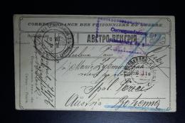 Russia  POW Postcard Petropavlosk Siberian 1916 To Bohemen Censor Cancels. Rare Model Card - 1857-1916 Empire