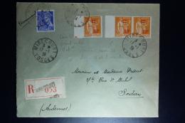 France Registered Letter Mirecourt Voges To Sedan 1939  Yvert Nrs 359 Type I +II Tenant A Lettre - Francia