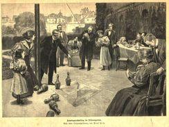Sonntagnachmittag Im Dekansgarten (nach Einer Zeichnung Von Paul Hey) / Druck, Entnommen Aus Zeitschrift  / 1899 - Livres, BD, Revues