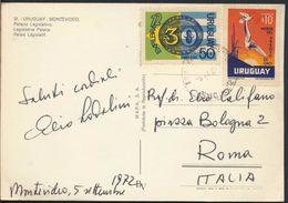 °°° 8000 - URUGUAY - MONTEVIDEO - PALACIO LEGISLATIVO - 1972 With Stamps °°° - Uruguay