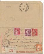 1938 - CARTE-LETTRE ENTIER AVEC BORDS RECOMMANDE TYPE PAIX De BRUYERES LE CHATEL => ARPAJON - Entiers Postaux