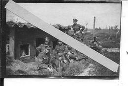 Flandres Flandern Somme Nord Sergents Canadiens Et Leur Mascotte Devant Un Abri 1 Photo 14-18 1914-1918 Ww1 1wk - War, Military
