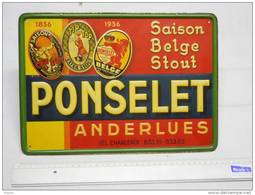Anderlues Plaque Métallique  Brasserie Ponselet  1936  Excellent état ( Voir Photo ) - Schilder