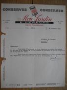 """Lettre 1959 GEER (WAREMME) - E. LEJEUNE - """"MON JARDIN"""" - Conserves Alimentaires - Unclassified"""