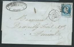 Lsc Affranchie Par N°14 En 1858, Oblitéré Losange A , Paris  - Po51305 - 1849-1876: Période Classique