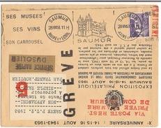 Lettre Grève De Saumur 1953 (  Par Avion Et Voiture Militaire ) - Strike Stamps