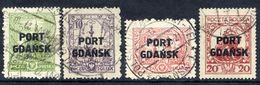 PORT GDANSK 1926-27 Overprints On .Buildings Definitives, Set Of 4 Used  Michel 15-18 - 1919-1939 Republic